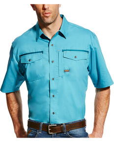 Ariat Men's Rebar Plaid Short Sleeve Work Shirt, Teal, hi-res