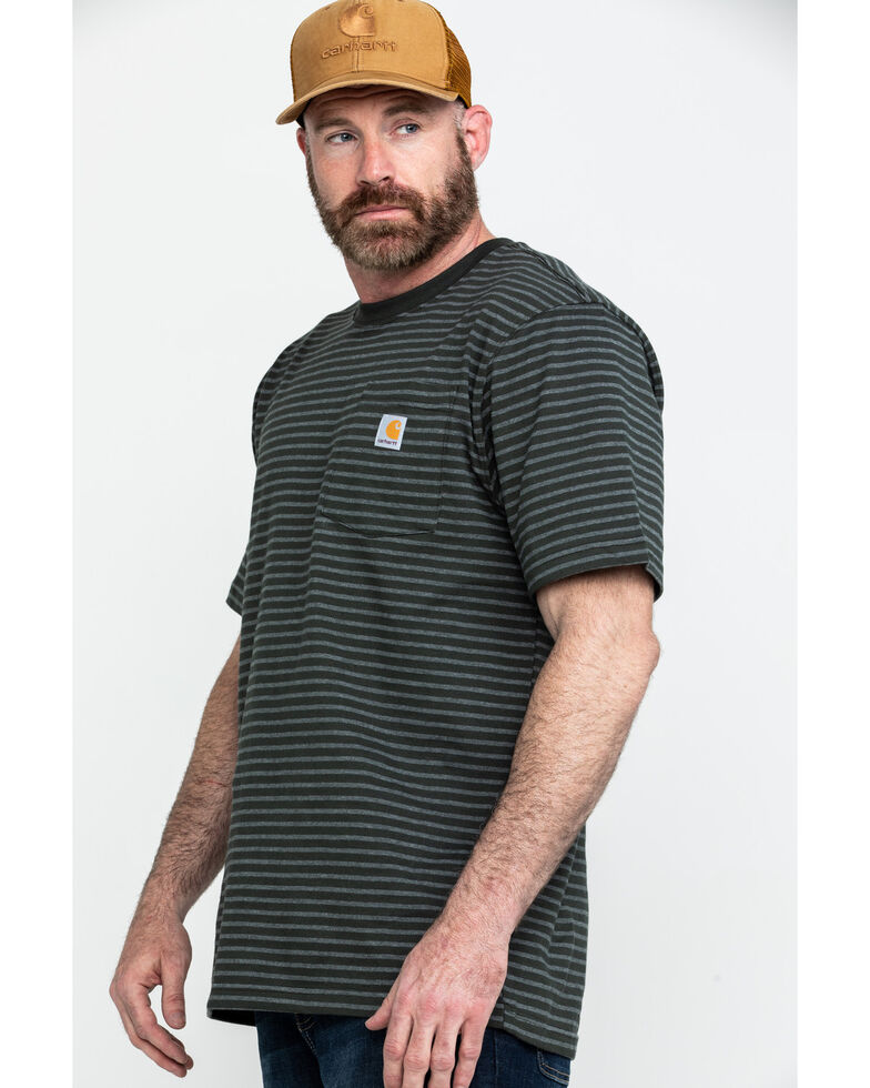 Carhartt Men's Peat Stripe Workwear Pocket Short-Sleeve Work T-Shirt, Dark Grey, hi-res