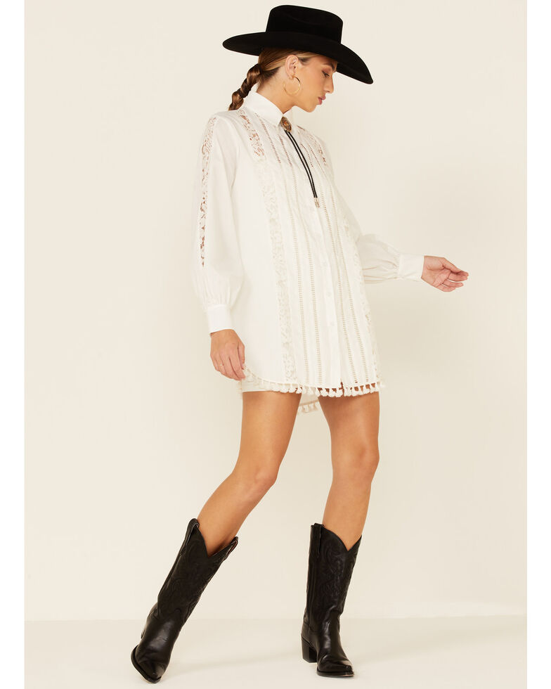 HYFVE Women's Off White Lace Inset Button-Down Western Shirt , Off White, hi-res