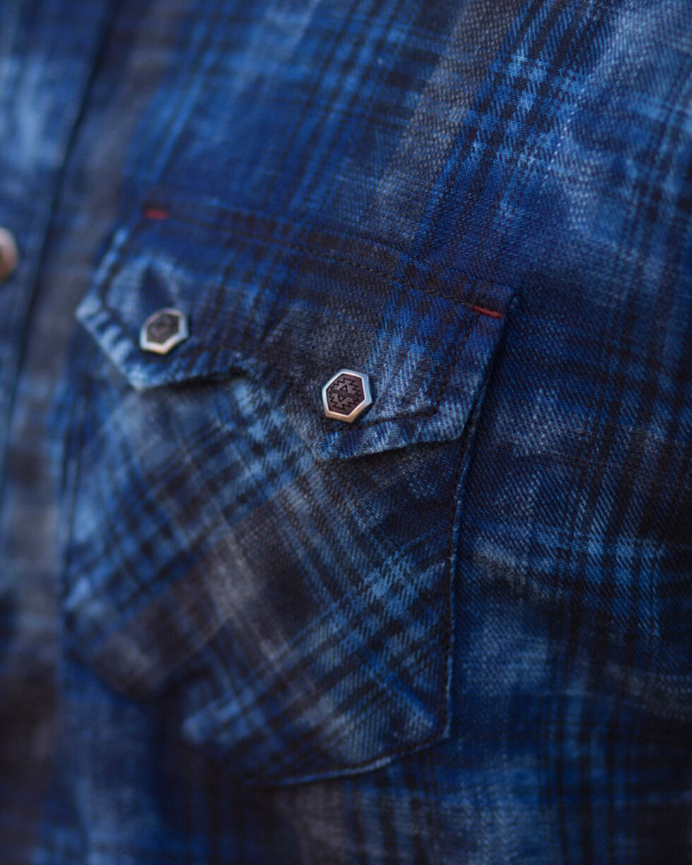 Ryan Michael Men's Indigo Midnight Plaid Shirt , Indigo, hi-res