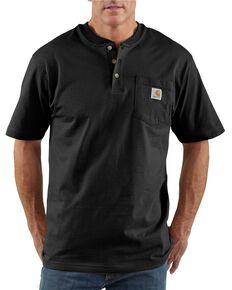 Carhartt Men's Workwear Henley Short Sleeve Shirt, Black, hi-res