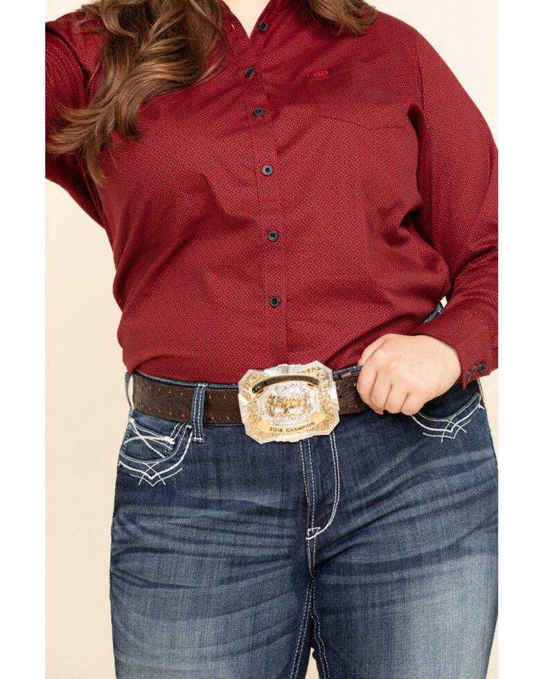 Ariat Women's Kirby Geo Print Scarlet Stretch Shirt - Plus, Red, hi-res