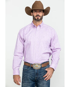 Ariat Men's Flatwoods Floral Print Long Sleeve Western Shirt - Tall , Purple, hi-res