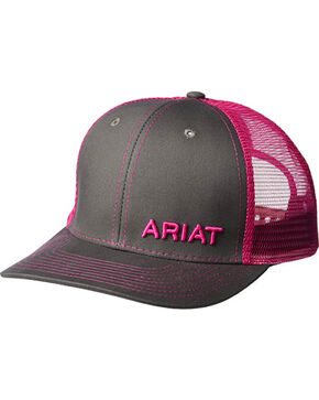Ariat Men's Grey with Pink Offset Baseball Cap , Black, hi-res