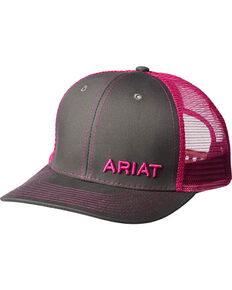 Ariat Men s Grey with Pink Offset Baseball Cap 386fe4edcb4f