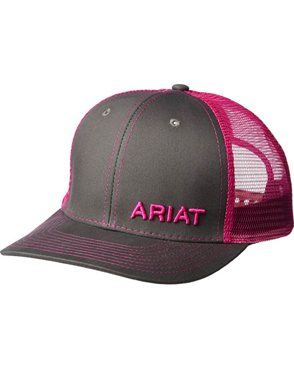 Ariat Men's Grey with Pink Offset Baseball Cap , , hi-res