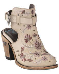 Lane Women's Floral Halfsie Fashion Booties - Round Toe, Ivory, hi-res