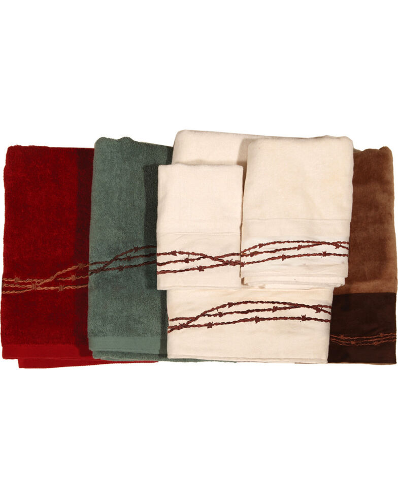 HiEnd Accents Three-Piece Embroidered Barbed Wire Bath Towel Set - Red, Red, hi-res