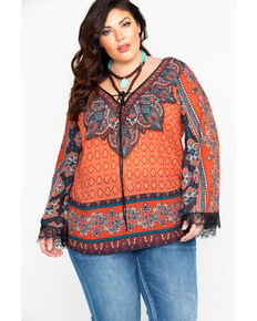 78f968fd35a Flying Tomato Women s Rust Boho Peasant Top - Plus