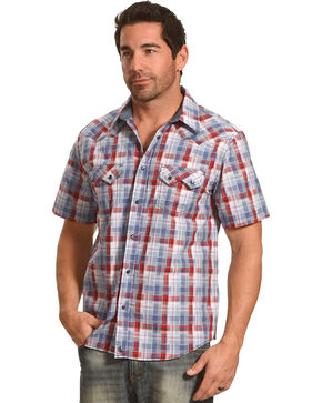 Cody James® Men's Americana Plaid Short Sleeve Shirt, Grey, hi-res