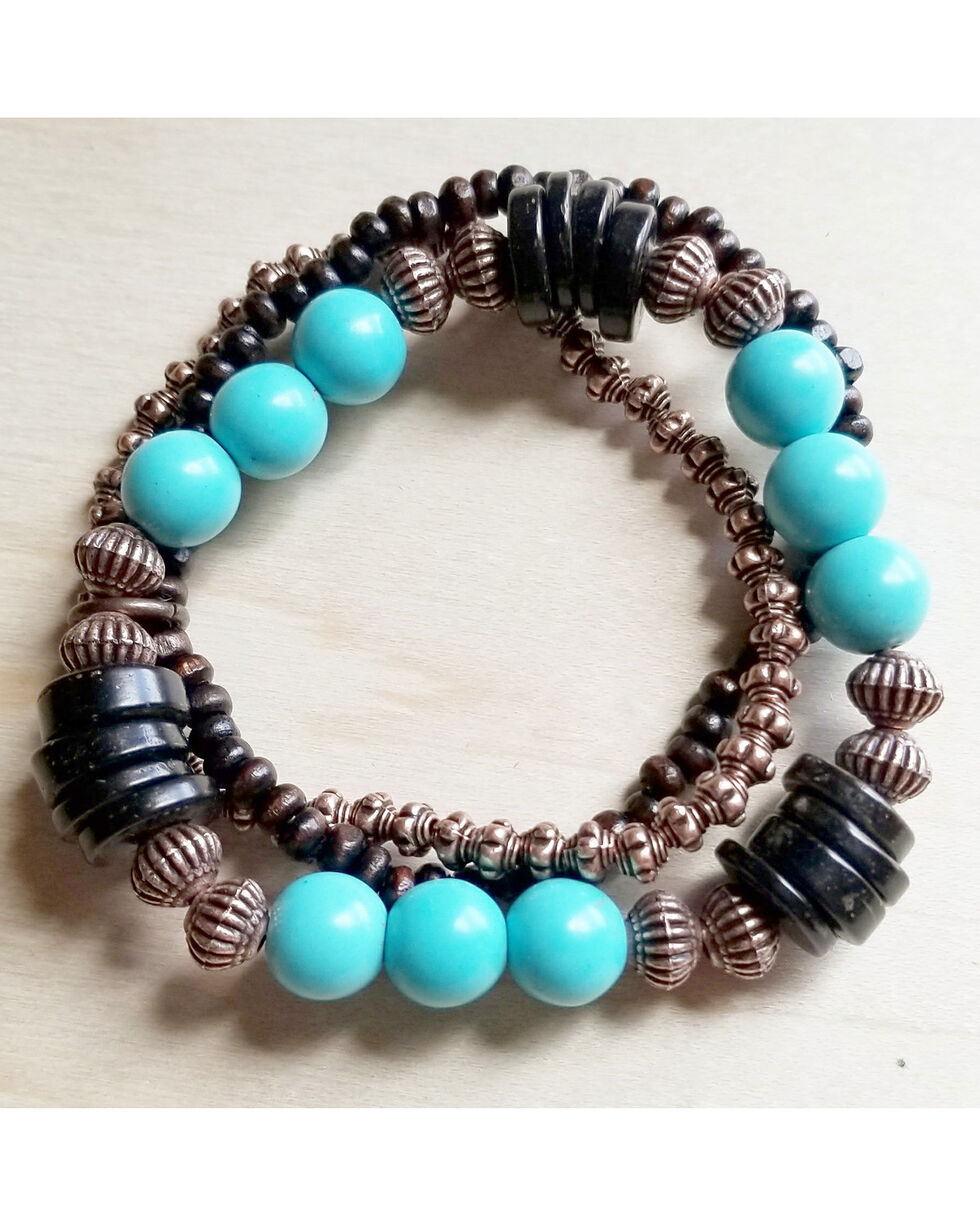 Jewelry Junkie Women's Blue Turquoise and Wood Bracelet , Turquoise, hi-res