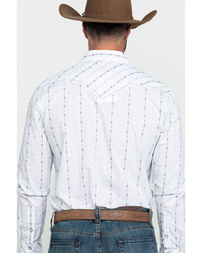 Rock & Roll Cowboy White Jacquard Striped Geo Print Long Sleeve Western Shirt , White, hi-res