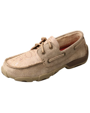 Twisted X Youth Boys' Boat Shoes - Moc Toe, Brown, hi-res