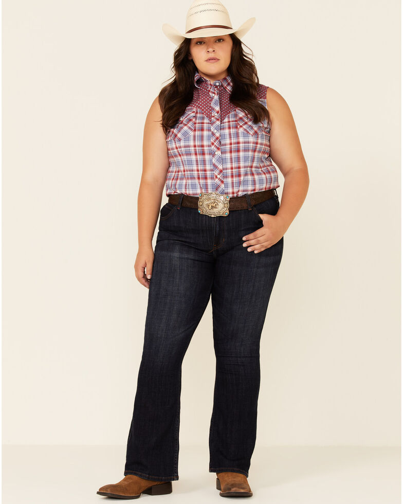 Rough Stock By Panhandle Women's Multi Plaid Contrast Yoke Sleeveless Snap Western Core Shirt - Plus, Red/white/blue, hi-res