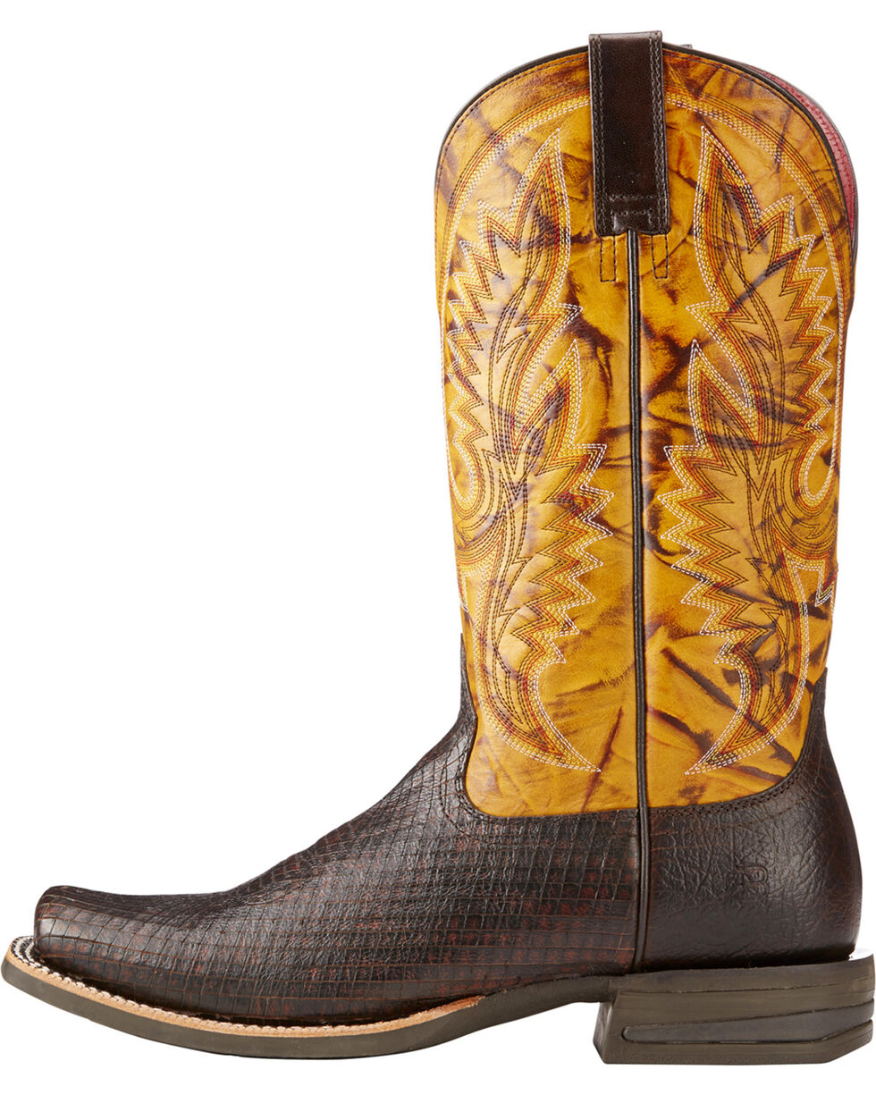 Ariat Men's Relentless Advantage Two Tone Serpent Cowboy Boots - Square Toe, Dark Brown, hi-res