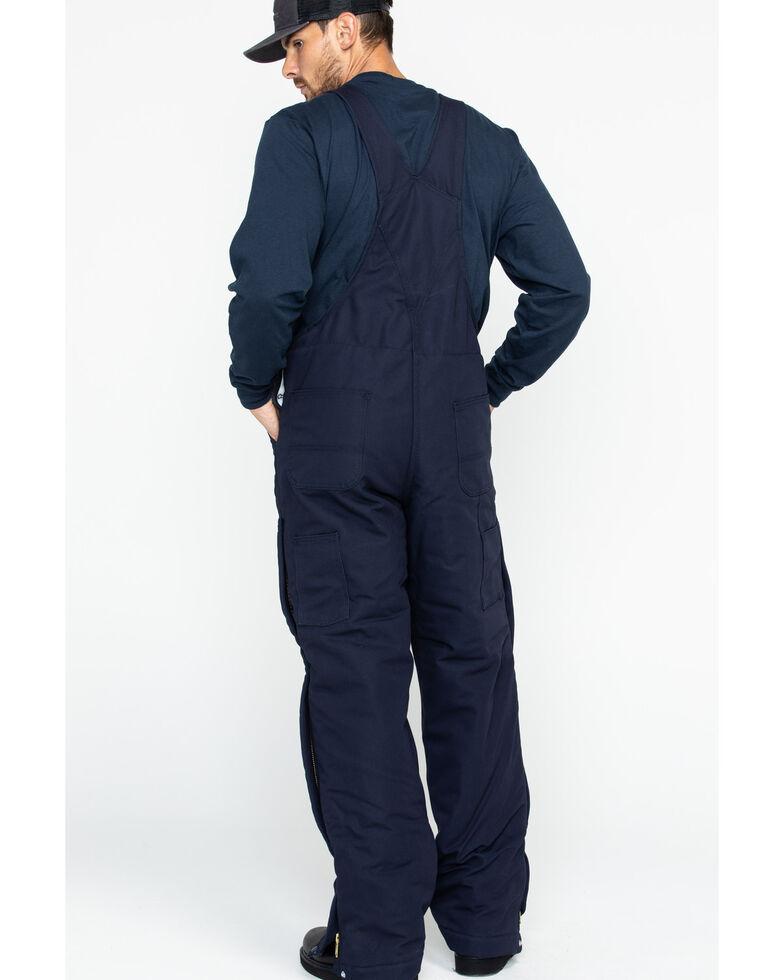 Carhartt Men's Flame-Resistant Duck Quilt-Lined Bib Overalls, Navy, hi-res