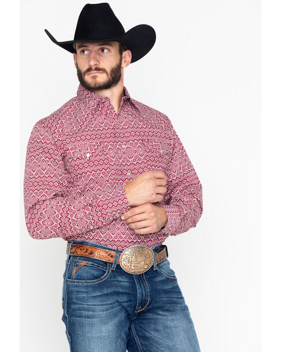 Roper Men's Aztec Print Snap Long Sleeve Western Shirt , Red, hi-res