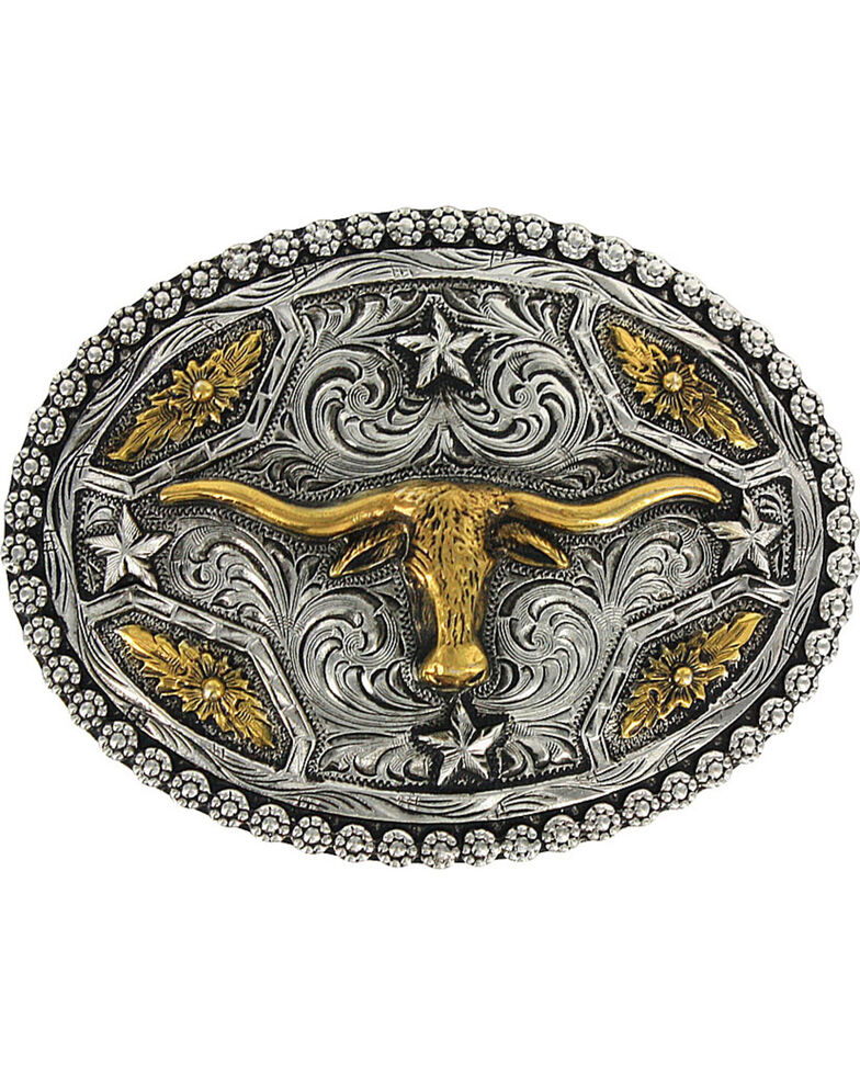 Cody James® Oval Long Horn Belt Buckle, Silver, hi-res