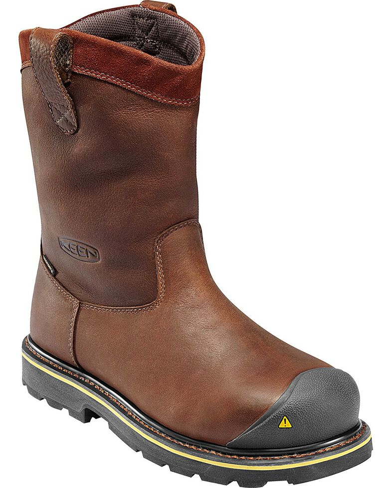 Keen Footwear Men's Wellington Pull-On Steel Toe Work Boots, Dark Brown, hi-res