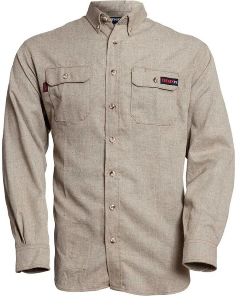 Tecgen Men's Tan Select FR Long Sleeve Work Shirt , Tan, hi-res
