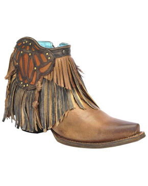 Corral Women's Side Patch Ankle Boots, Brown, hi-res