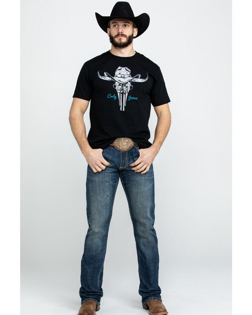 Cody James Men's Longhorn Western Revolver Graphic T-Shirt , Black, hi-res