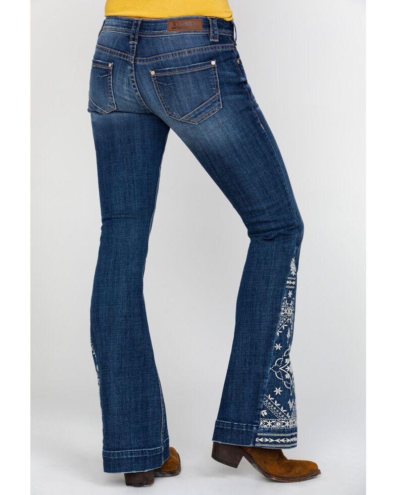 Rock & Roll Cowgirl Women's Basic Pocket Applique Denim Trousers , Blue, hi-res