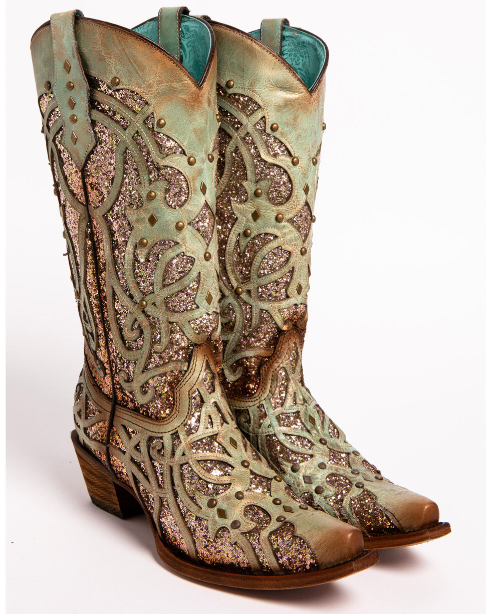 Corral Women's Mint Glitter Inlay Western Boots - Snip Toe , Green, hi-res