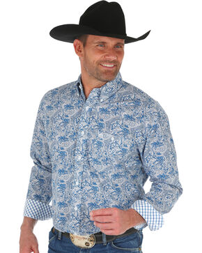 George Strait by Wrangler Men's Blue Floral Print Shirt , Dark Blue, hi-res