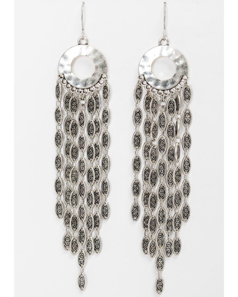 Shyanne Women's Linear Mini Hoop Multi Chain Earrings, Silver, hi-res