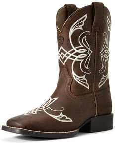 Ariat Youth Boys' Quickdraw Famous Distressed Western Boots - Wide Square Toe, Brown, hi-res
