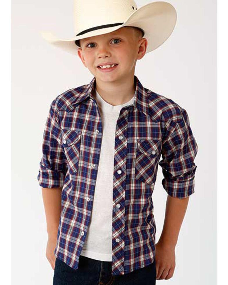 Roper Boys' Classic Blue Plaid Long Sleeve Western Shirt , Blue, hi-res