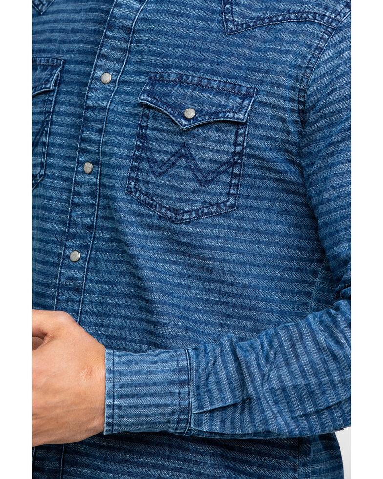 Wrangler Retro Men's Indigo Stripe Long Sleeve Western Shirt , Blue, hi-res
