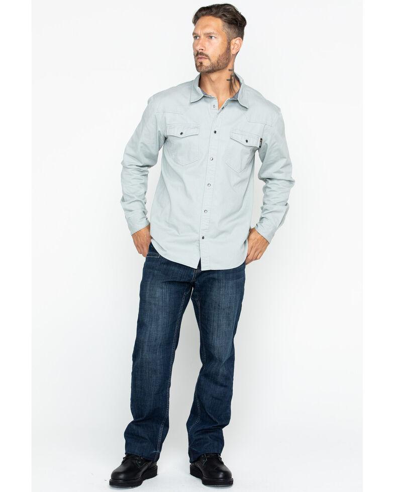 Hawx Men's Grey Twill Snap Western Work Shirt - Big , Light Grey, hi-res