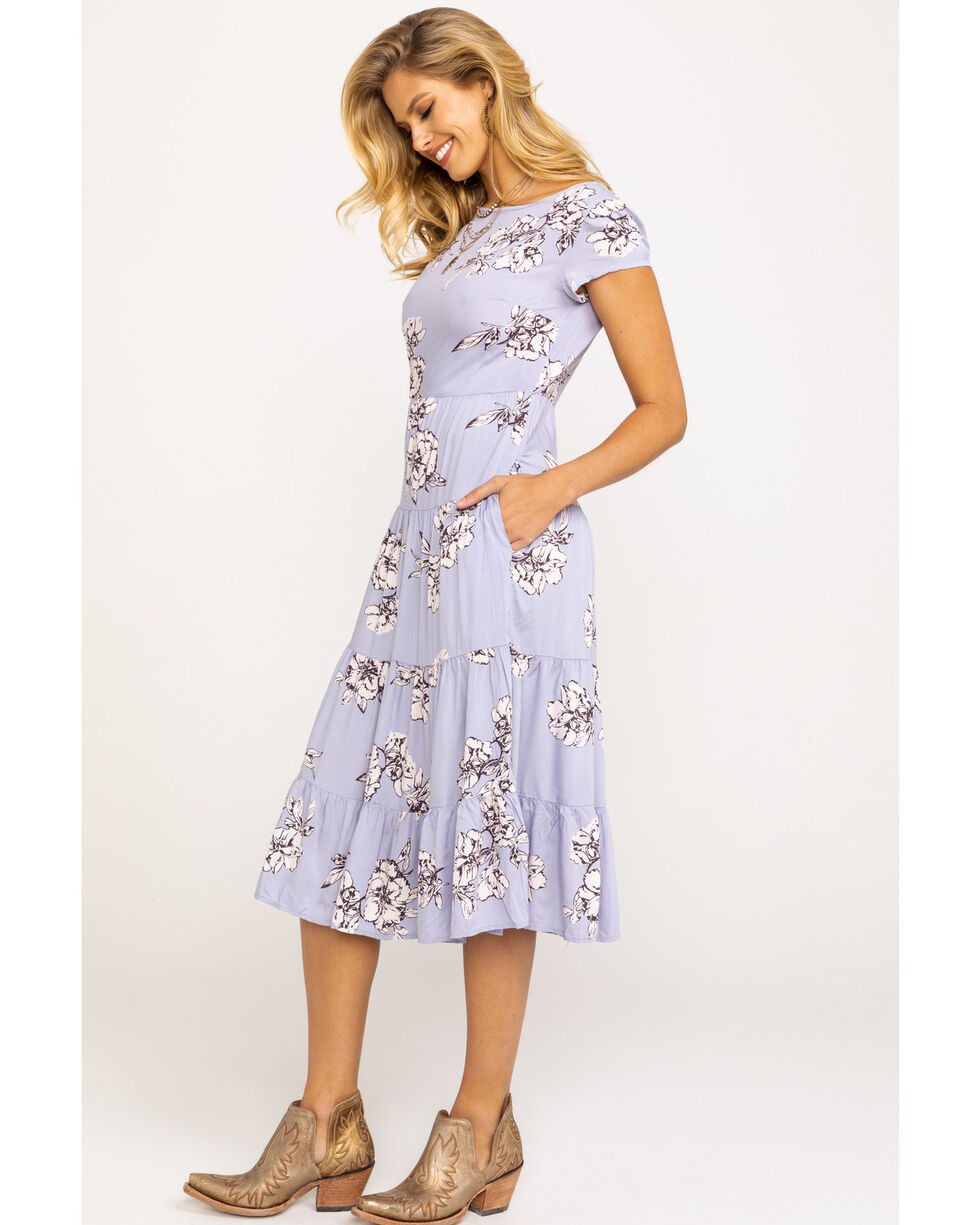 Free People Women's Rita Tiered Midi Dress, Blue, hi-res