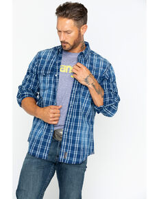 Wrangler Retro Men's Premium Indigo Plaid Long Sleeve Western Shirt , Indigo, hi-res
