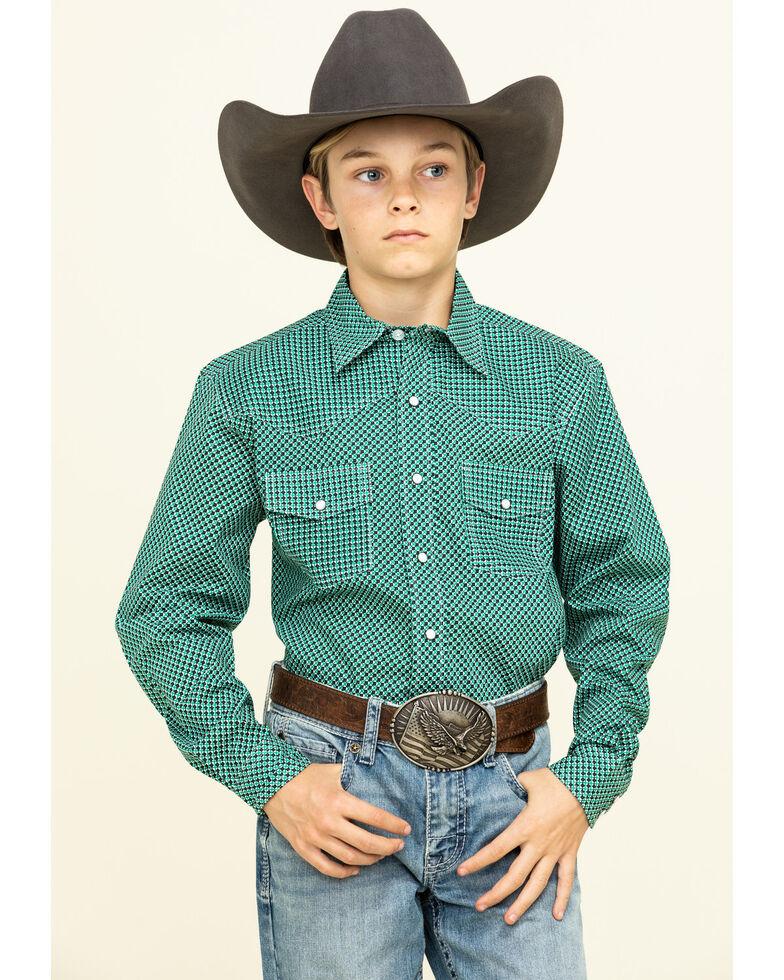 Cinch Boys' Multi Micro Geo Print Long Sleeve Western Shirt , Green, hi-res