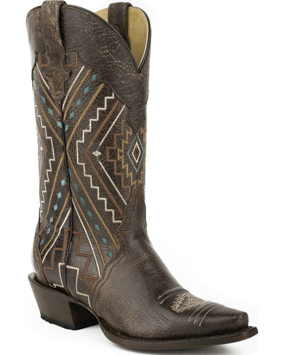 Roper Women's Southwest Square toe Western Boots, Brown, hi-res
