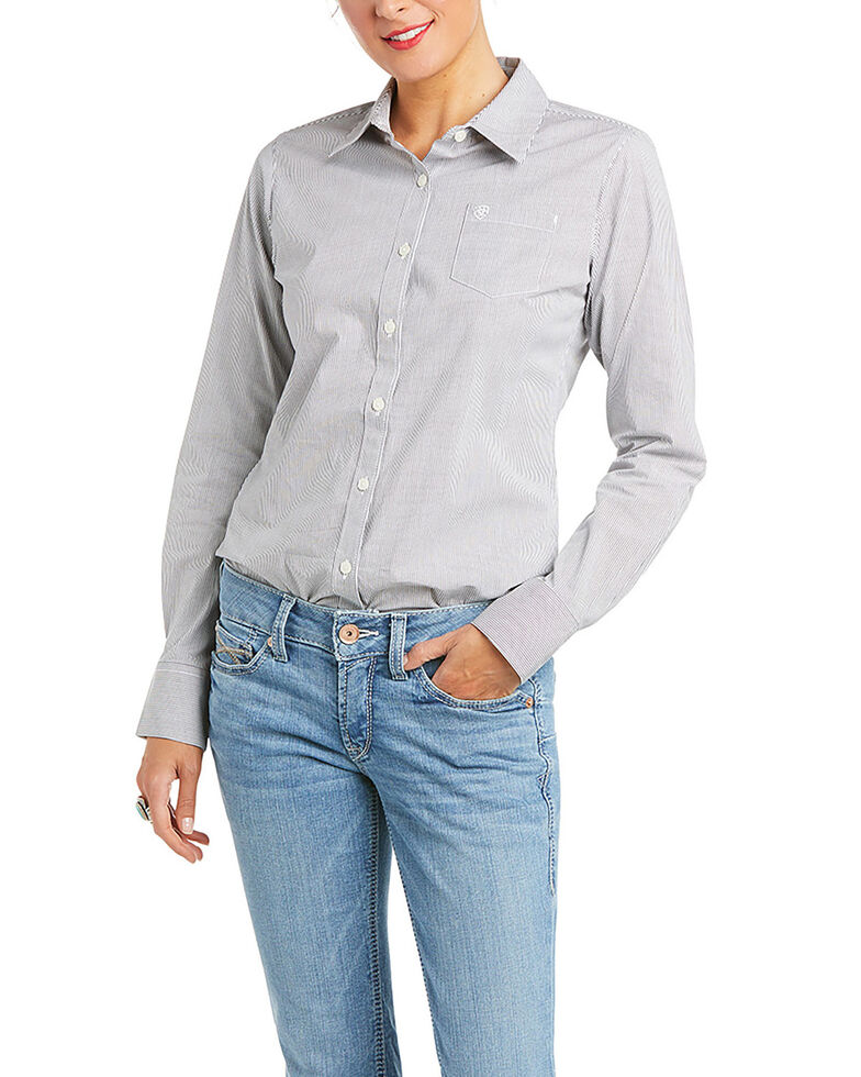 Ariat Women's Periscope Striped Kirby Stretch Long Sleeve Western Button Core Shirt , Light Blue, hi-res