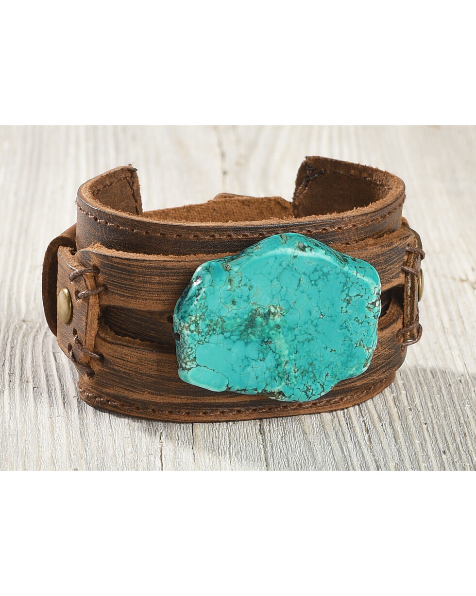 Jewelry Junkie Women's Chunky Turquoise Leather Cuff , Turquoise, hi-res