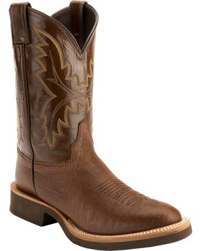 Justin Men's Smooth Ostrich Western Boots, Antique Brown, hi-res