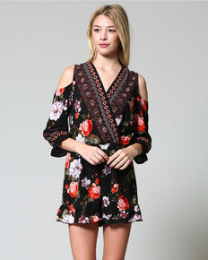 CES FEMME Women's Black Floral Cross Over Romper , Black, hi-res
