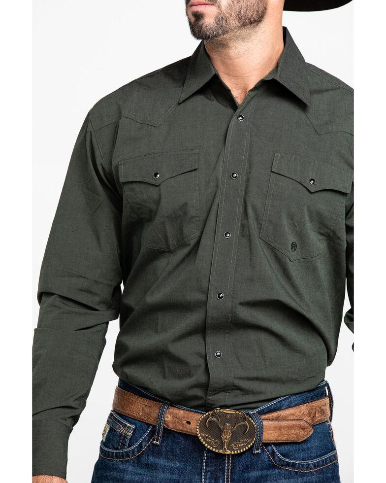 Roper Men's Black Fill Olive Solid Long Sleeve Western Shirt , Green, hi-res