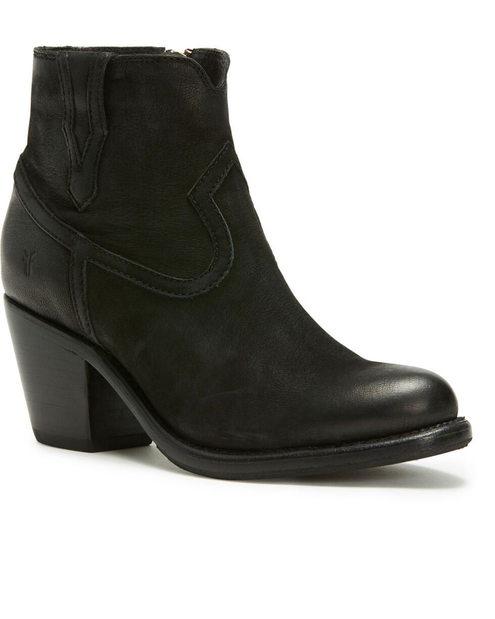 Frye Women's Black Lillian Western Booties - Round Toe , Black, hi-res