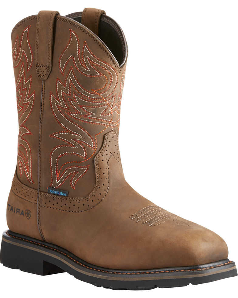 Ariat Men's Brown Sierra Delta Waterproof Western Boots - Square Toe, Brown, hi-res