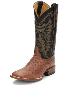 Justin Men's Pascoe Rum Brown Full-Quill Ostrich Western Boots - Wide Square Toe, Brown, hi-res