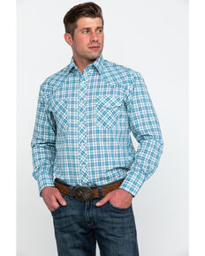 Roper Men's Small Classic Plaid Long Sleeve Western Shirt , Blue, hi-res