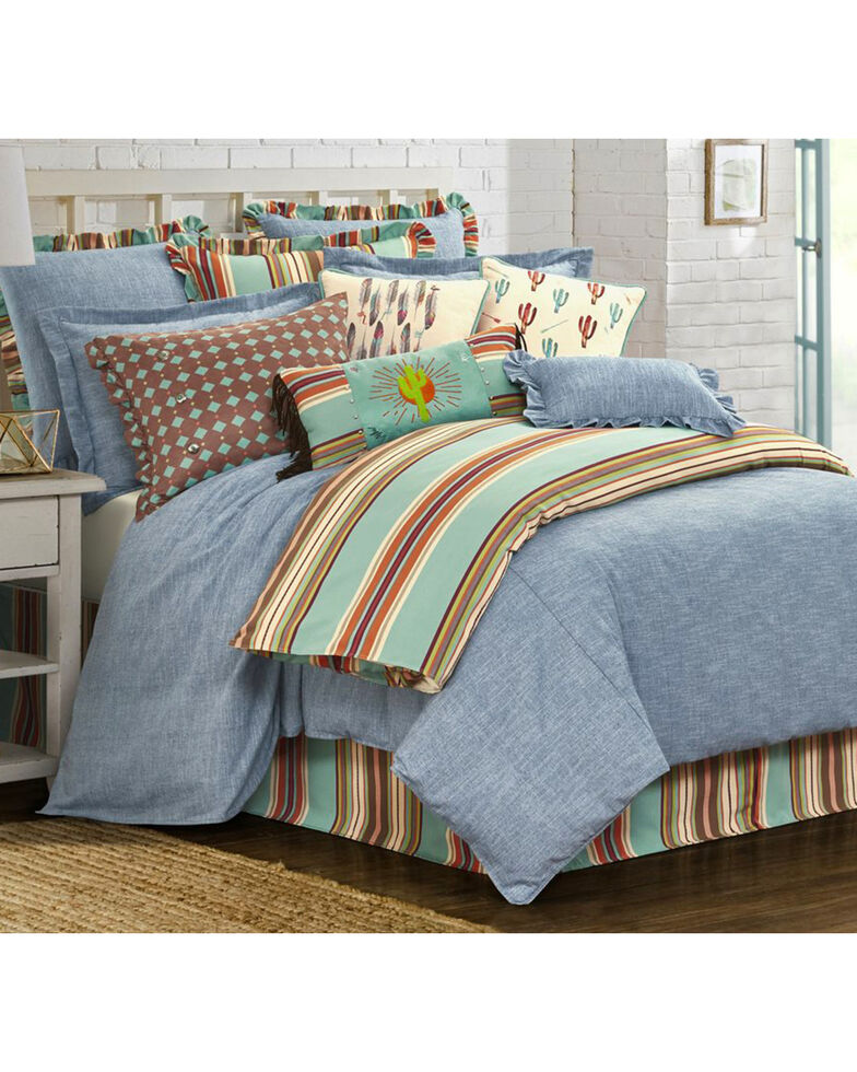 HiEnd Accents Light Blue Chambray 3-Piece Comforter Set - Super Queen, Light Blue, hi-res