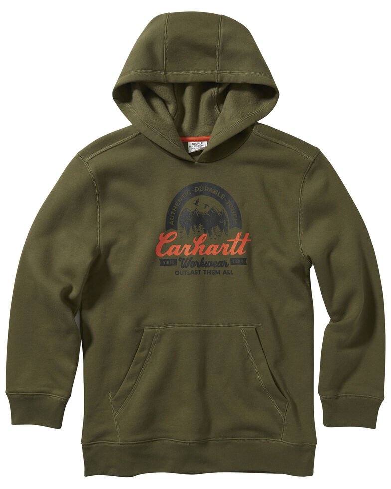 Carhartt Toddler Boys' Amber Gold Logo Fleece Hooded Sweatshirt , Olive, hi-res