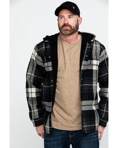 Wolverine Men's Grey Buckshaw Plaid Bonded Hooded Shirt Work Jacket , Grey, hi-res